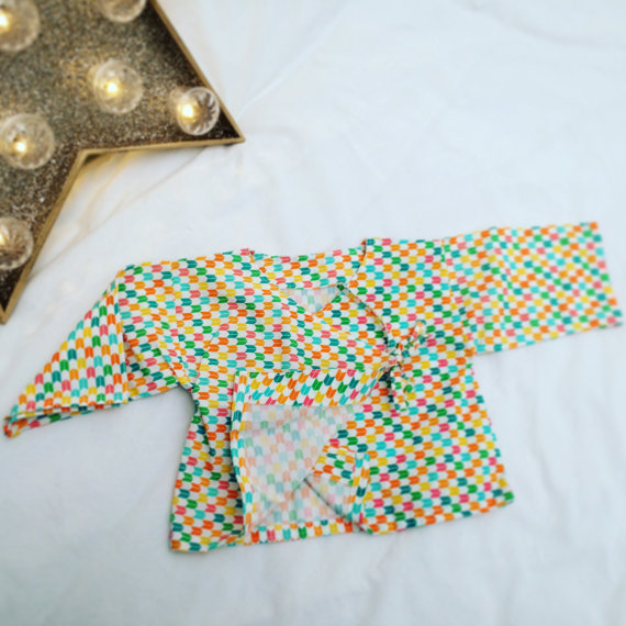kimono bébé / petit haut inspiration japonaise 6 mois - tissu 100% coton bio Madame Mo